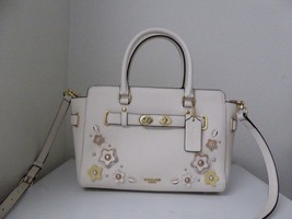 New Coach Blake 25 Floral Applique White Chalk Leather Satchel Handbag 3... - ₹13,962.84 INR