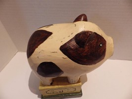 "Vintage Carved Wood Pig Hand Painted Primitive Brown White 9"" - $19.35"