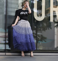 PASTEL GREEN Long Tulle Skirt Blue Green Tiered Tulle Skirt Party Skirts image 7