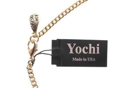 New Yoshi New York Gold Plated Clear Crystal Half Circle Bar Statement Necklace image 3