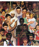 The Golden Rule 22x30 Art Print by Norman Rockwell  inspirational - $64.33