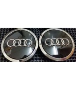 4 Pcs, Audi Black Chrome Logo Center, Wheel Hub Cap for A3, A4, A5, A6, ... - $19.79