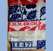 """1847 antique 74""""x76"""" COVERLET signed J.H.MARCH excellent PENNSYLVANIA ES... - $450.00"""