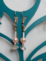 Drop Earrings With Clear Stones and Pink Beads 006 - $8.00
