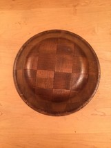 "Vintage 70s Large Woven Wood Dark Wood Parquet Salad Bowl- 9"" image 3"