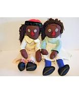 Folk Art Rag Dolls Cloth Black Americana Primitive Handmade Pair Vintage... - $21.73