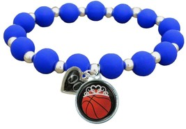 Custom Basketball Princess Silicone Stretch Bracelet Choose Number Color... - $14.24