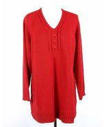 AVENUE Size 22W 24W Bright Red Soft Cozy Long Tunic Sweater MINT - $16.99