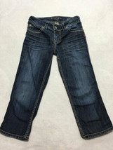 Silver Suki Surplus Capri 26 Stitched Logo Blue Jeans Button Flap Pockets - $14.99