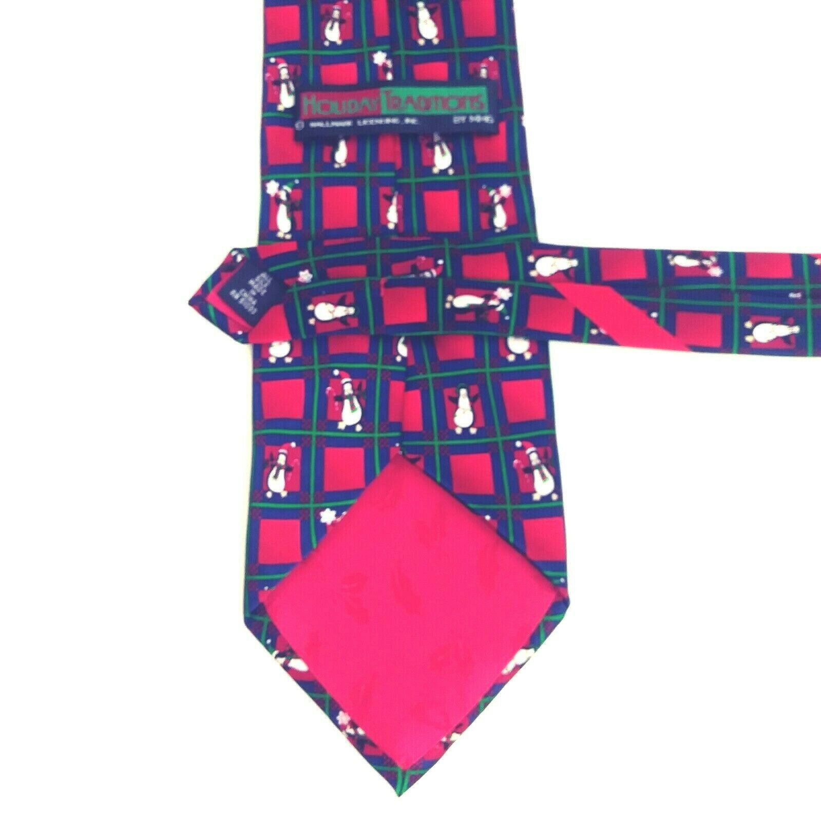 Hallmark Holiday Traditions Penguin Christmas Tie Red & Green 100% Silk NWOT