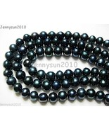 Natural Freshwater Pearl Potato Beads 15'' 9mm - 10mm Dark Peacock Black... - $5.75
