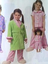 "Butterick Sewing Pattern 6123 Girls Childs 18"" Doll Top Belt Robe Size 6... - $15.65"