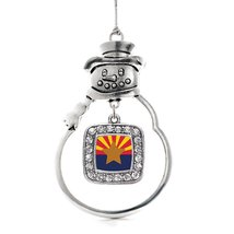 Inspired Silver Arizona Flag Classic Snowman Holiday Christmas Tree Ornament Wit - $14.69