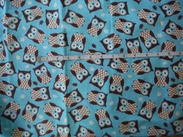 "Flannel Fabric Owls on Turquoise Blue background 1 yard 25"" ( total 61"") - $10.40"