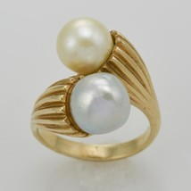 14k Yellow Gold Ladies Pearl Journey Style Ring - Size 7.25 - $595.00