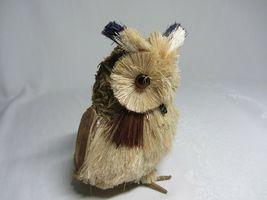 2 Owl Bird Figures Sisal Fiber Straw & Wood Vtg Figurines Natural Dried Rustic image 7