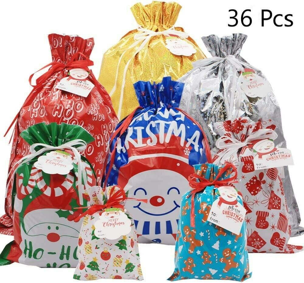 Primary image for Christmas Wrapping Bag Festive Gift Favor Boxes Santa Name Tags Xmas Drawstring