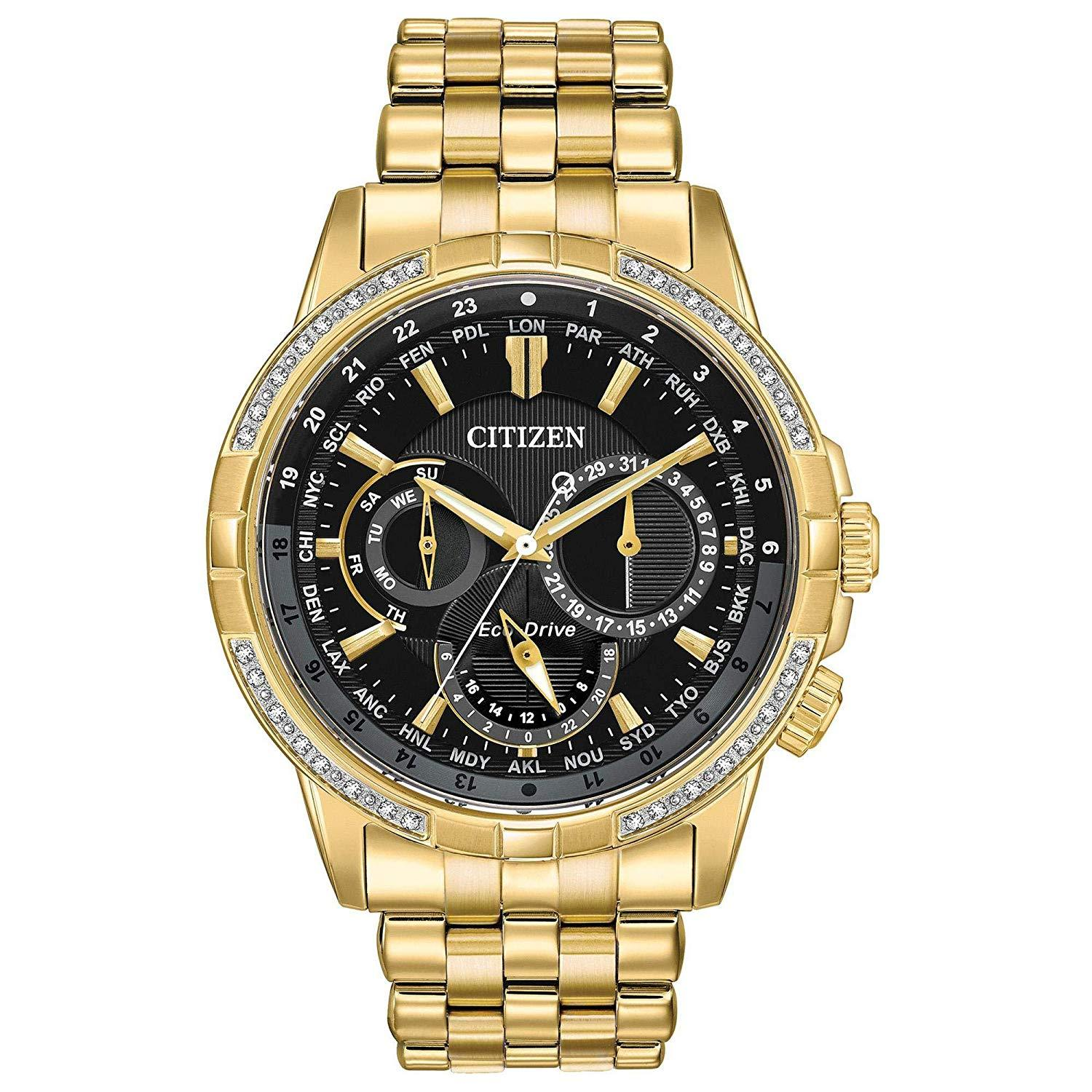 Citizen Men's Eco-Drive Stainless Steel GoldTone Diamond Accent Watch BU2082-56E
