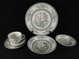 VINTAGE 6 PIECE PLACE SETTING INDIAN TREE DESIGN GREEN LOVERS! 7 AVAILABLE - $15.96