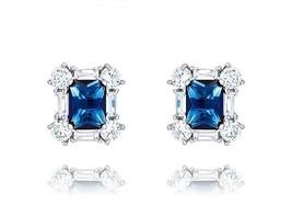 Blue Emerald & Baguette-Round VVS CZ Sterling Silver Martini Stud Earrings - $49.49