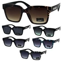 Womens Boyfriend Style Horn Rim Rectangular Plastic Goth Sunglasses - £9.77 GBP