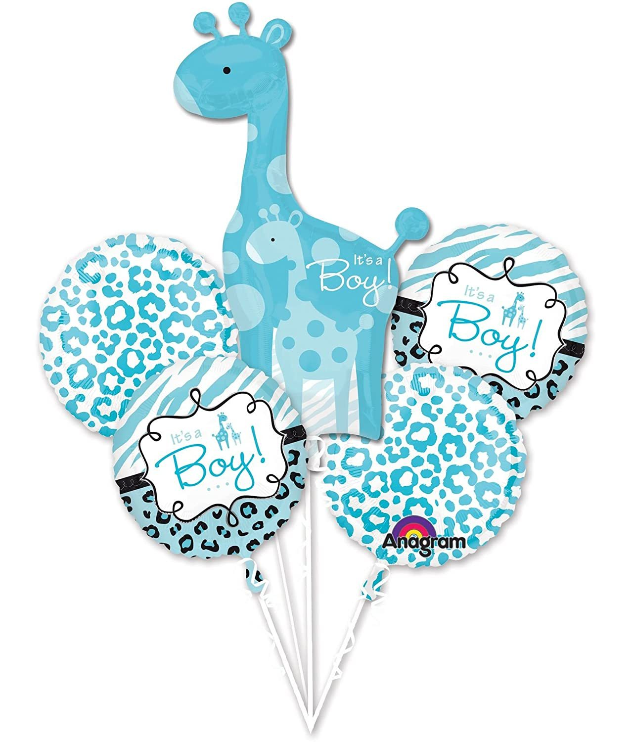Primary image for Sweet Safari Boy Animal Blue Baby Shower Party Decoration Mylar Balloon Bouquet