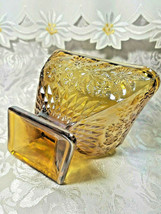 MARIGOLD IRIDESCENT CARNIVAL GLASS  CANDY/NUT DISH DIAMOND SHAPED FLORAL DESIGN image 2