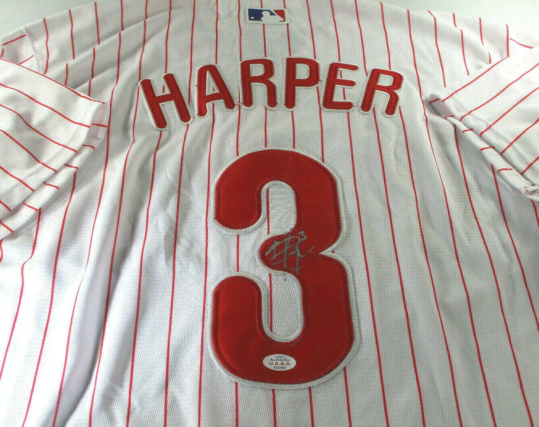 BRYCE HARPER / AUTOGRAPHED WASHINGTON NATIONALS PRO STYLE BASEBALL JERSEY / COA