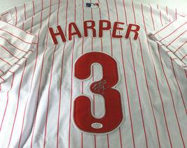 BRYCE HARPER / AUTOGRAPHED WASHINGTON NATIONALS PRO STYLE BASEBALL JERSEY / COA image 1