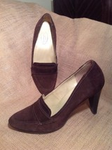 Talbots Brown Suede Leather Loafer Career Stacked Heel Pumps ~ Nice ~ 7B Shoes - $29.69