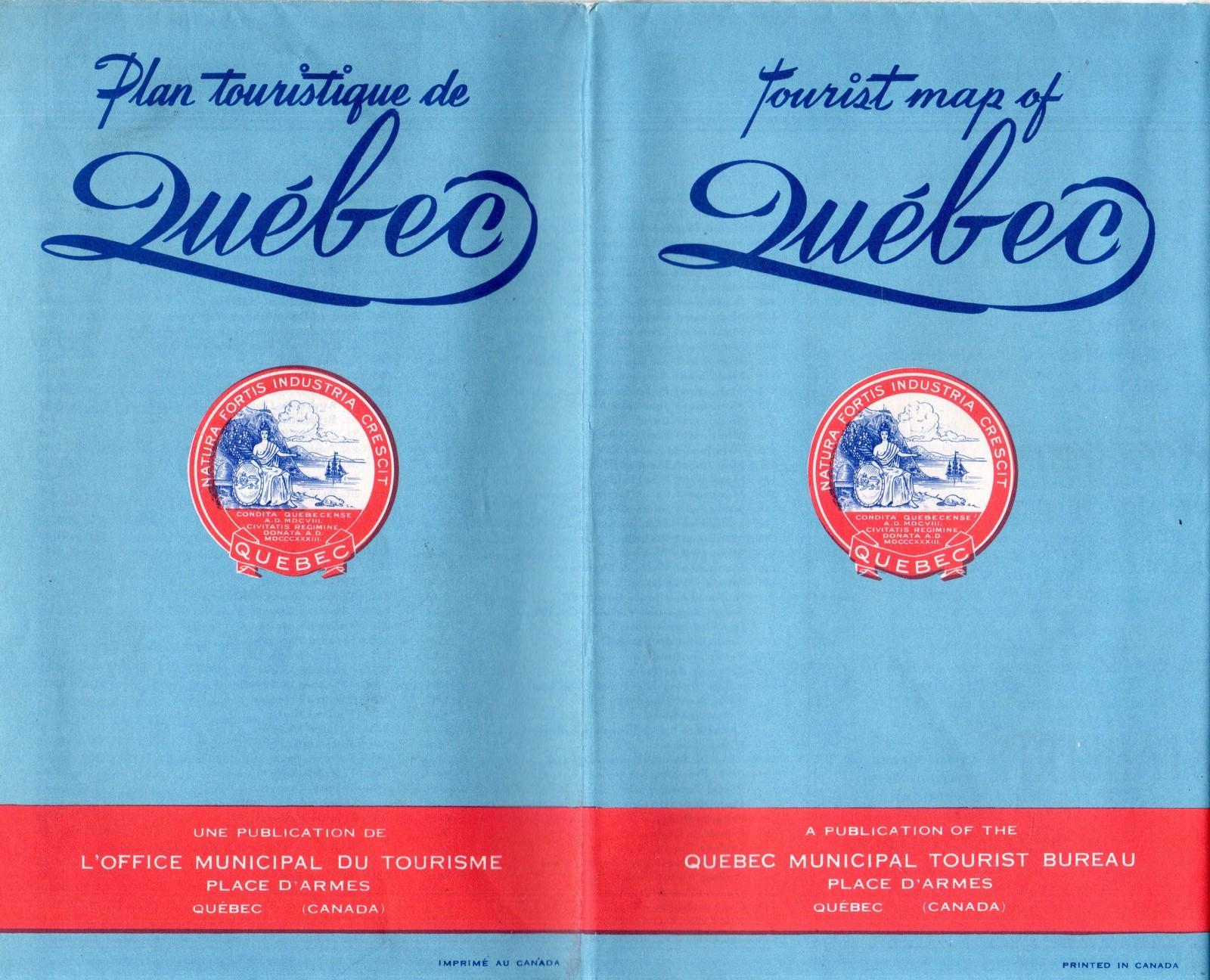 Tourist Map of Quebec - Vintage 1950's