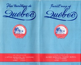 Tourist Map of Quebec - Vintage 1950's - $4.95