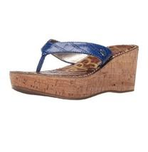Sam Edelman Cork Wedge Leather Sandals Blue Tan Sz 9 NIB - $34.20