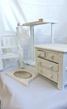 Vintage Wooden Doll Furniture Bed Chair Dresser Mirror 4 Piece Lot Handm... - $93.49