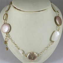 18K YELLOW GOLD NECKLACE WITH MOTHER OF PEARL AND PEARL DISC, RHOMBUS CHAIN image 2