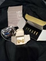 VINTAGE Avon Lot  HEART SHAPE Trinket  Jewelry Box  + 4 pair goldtone earrings  - $11.90