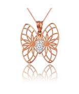 Rose Gold Filigree Butterfly Diamond Pendant Necklace - $69.99+