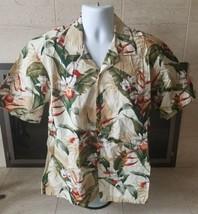 Tan Hibiscus Made in Hawaii 100% Cotton Hawaiian Shirt Sz L Vtg Style - $19.79