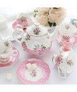 Pink Flower Bone China Ceramic Teaset Coffee Tea Cup Set Wedding Gifts - $247.40