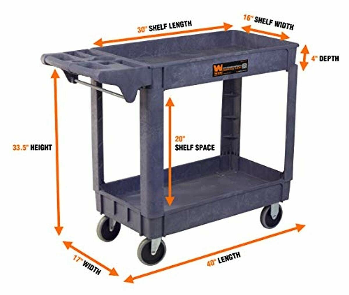73002 500-Pound Capacity 40 by 17-Inch Service Utility Cart