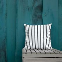 White with Black Pinstripes Premium Throw Pillow - $31.99+