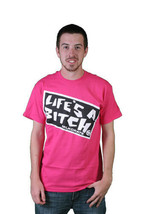 Milkcrate Athletics Mens Lifers Pink or White Life's a Bitch T-Shirt NWT