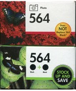 2 Pack NEW HP 564 CN684WN & Photo 564 Black Ink Cartridges Expired - $18.80