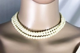 """Vintage Faux Pearl Triple Strand Choker Necklace - 14"""" - 14K Gold Filled Clasp - $48.62"""
