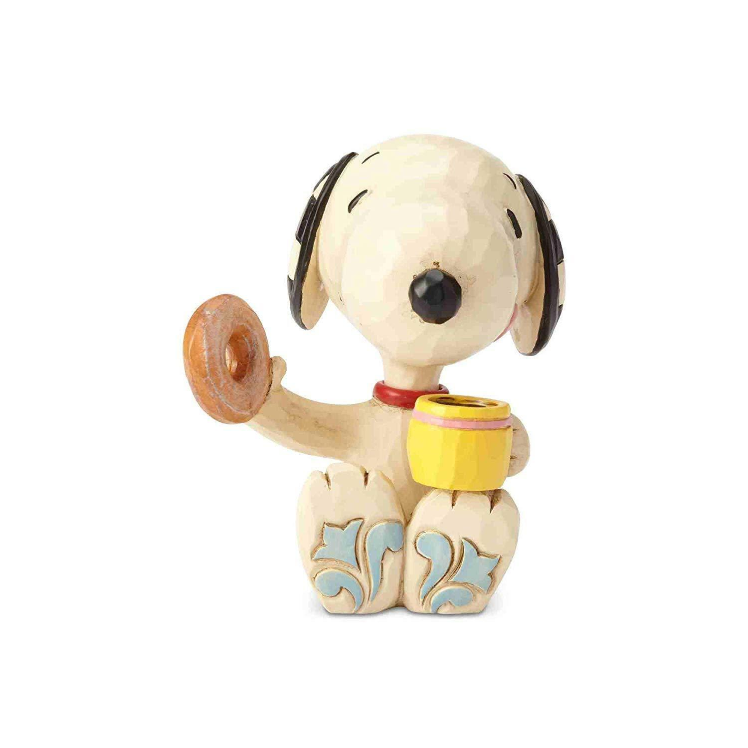 Jim Shore Peanuts Snoopy Donut and Coffee Mini Resin Figurine New with Box
