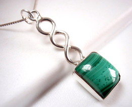 Malachite Necklace 925 Sterling Silver Rope Style Stem Imported from India New - $21.77