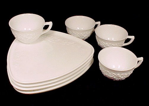 77531a indiana milk glass orange blossom snack set of 4 triangle white plate cup
