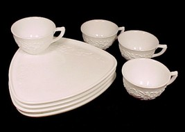 77531a indiana milk glass orange blossom snack set of 4 triangle white plate cup thumb200
