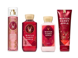 4 Pc Bath & Body Works Winter Candy Apple Gift Set Shower Gel Lotion, Mi... - $35.50