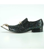 Men's Fiesso Black Multi color Glitter Pointed Gold Metal Tip Shoes FI 7072 - $129.99